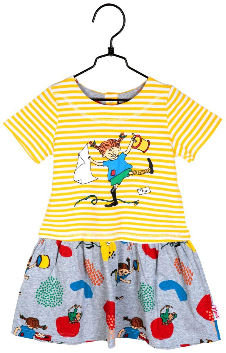 Mädchen Kleid kurzarm Ringel gelb/weiß Pippi Langstrumpf ...