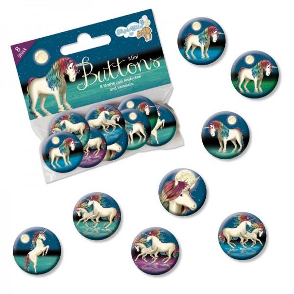 Mini-Button-Set Einhorn Lunabelle (8 teilig)