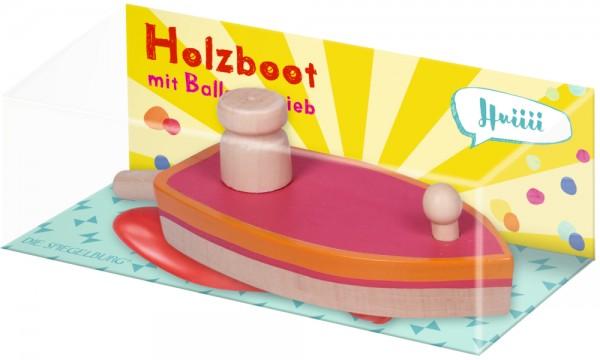 Holzboot mit Ballonantrieb - Bunte Geschenke (1 Stück) 14466