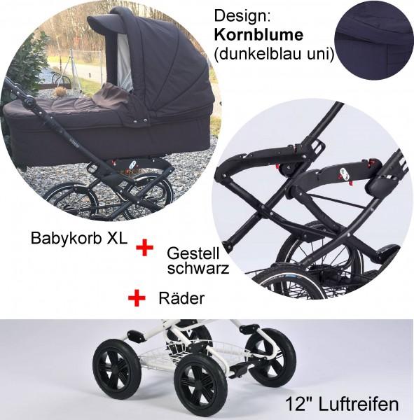 """EW Kornblume: Babykorb XL - Vita-Gestell anthrazit - Luft-Räder 12"""""""