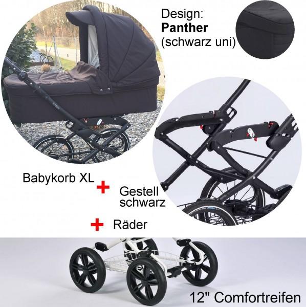 """EW Panther: Babykorb XL - Vita-Gestell anthrazit - Comfort-Räder 12"""""""