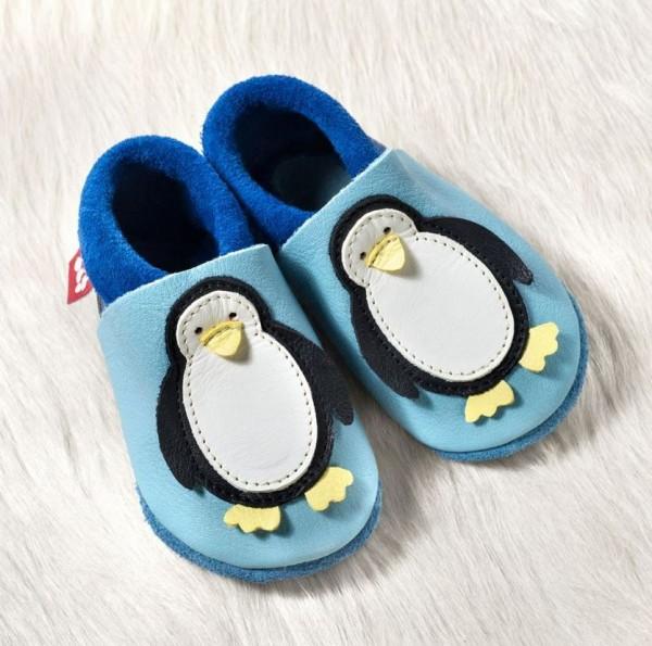 Pololo Soft Lauflern-/Hausschuhe Pinguin babyblue