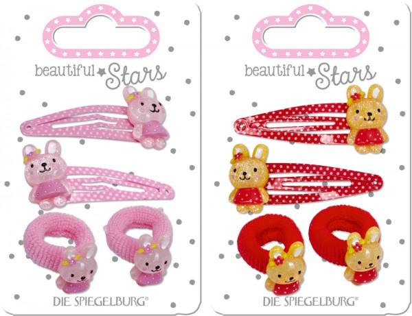 Haarclip + Haargummi Hase rot oder rosa (1 Set sortiert) beautiful Stars