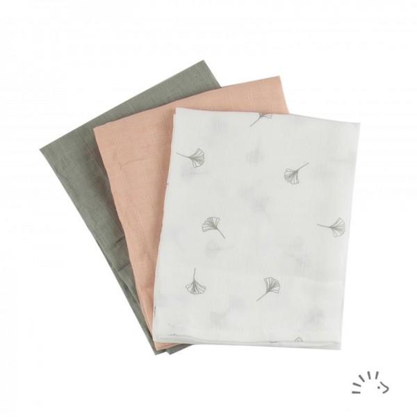 Mullwindeln Soft Ginko 70 x 70cm 3er Pack - Popolini