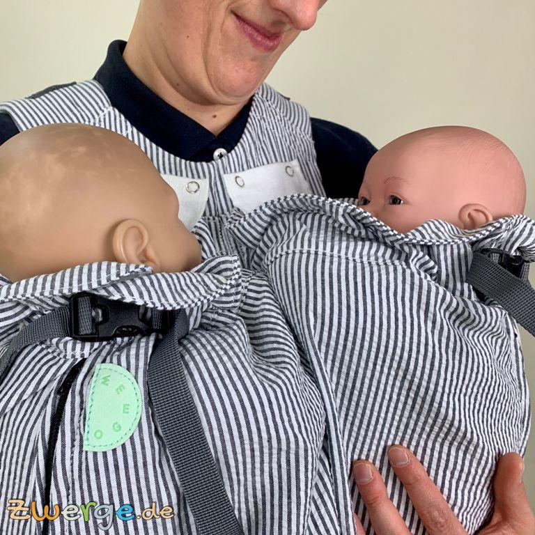 Zwillinge tragen mit der Weego Zwillingstrage
