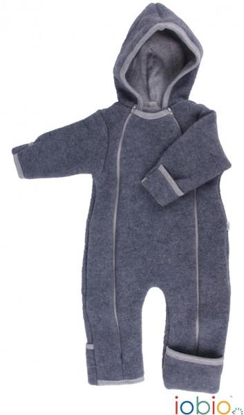 Baby Overall Wolle Fleece anthrazit von iobio