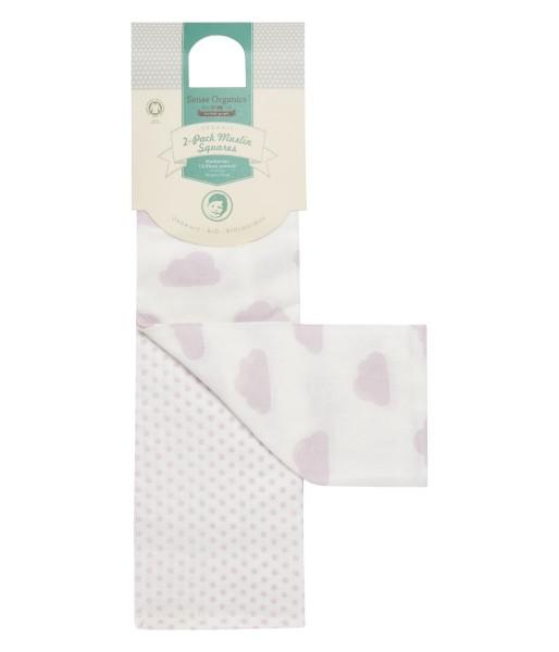 Wickeltuch / Mulltuch Wolken weiß/rosa 120x120cm - Sense Organics