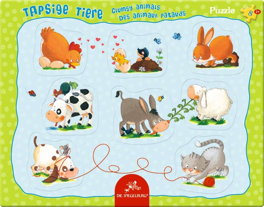 Rahmenpuzzle mit Fingerlochstanzung Tapsige Tiere (8 Teile) | Puzzle ...