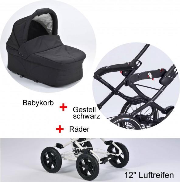 """EW Panther: Babykorb - Vita-Gestell anthrazit - Comfort Soft Räder 12"""""""