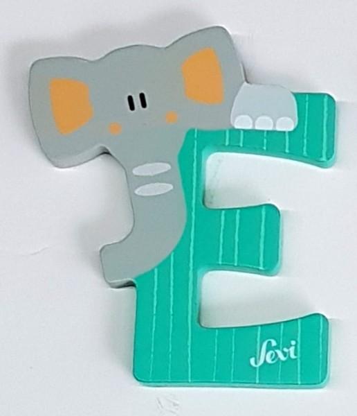 SV83005 DKGN Sevi Holzbuchstabe E Elefant dunkelgruen Tierbuchstabe pastell