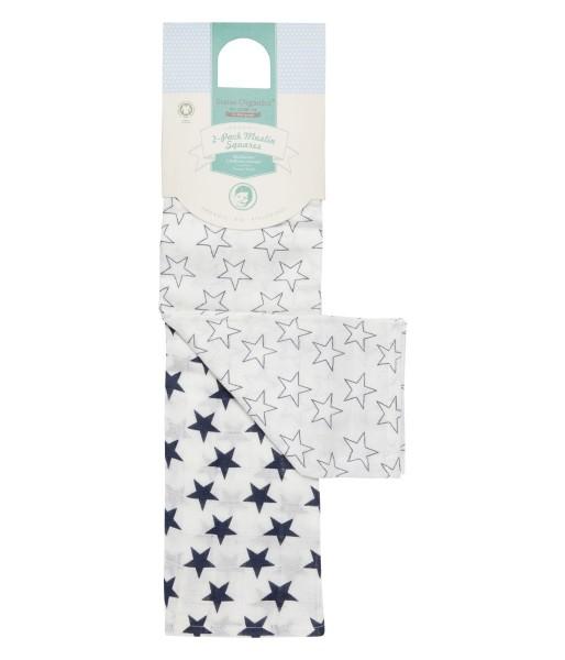 Wickeltuch / Mulltuch Sterne weiß/blau 120x120cm - Sense Organics
