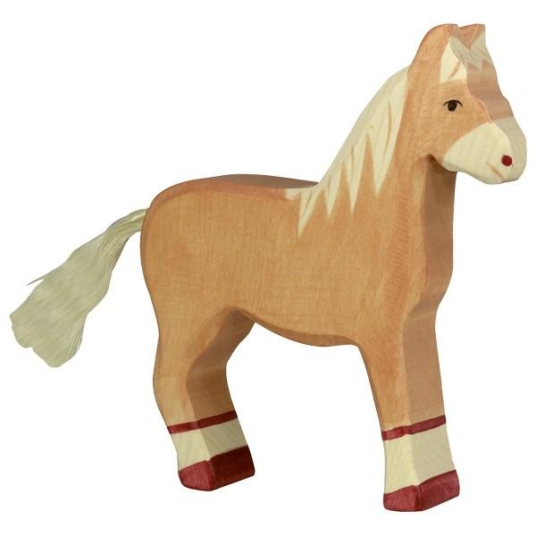 Holztiger Pferd stehend hellbraun aus Holz 80033