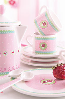 HABA Spielgeschirr Glückspilz / Kaffeegeschirr Puppenküche 3821