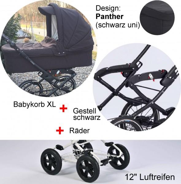 """EW Panther: Babykorb XL - Vita-Gestell anthrazit - Luft-Räder 12"""""""