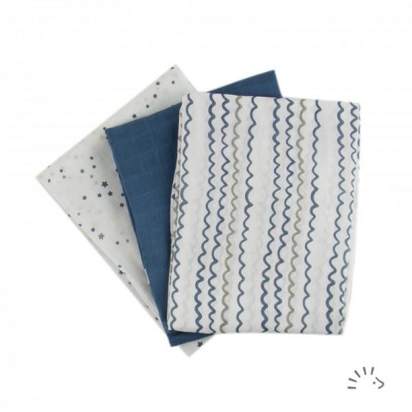 Mullwindeln Starry Sea 70 x 70cm 3er Pack - Popolini